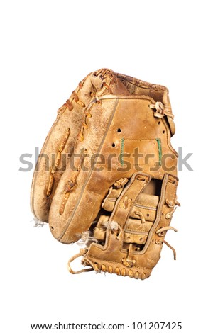 An old, rundown leather baseball glove with frayed laces and in a grungy condition isolated on white. - stock photo