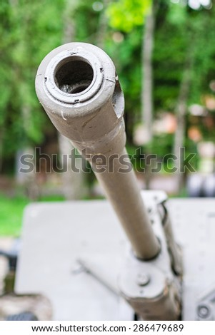an old russian canon aiming on the sky - stock photo