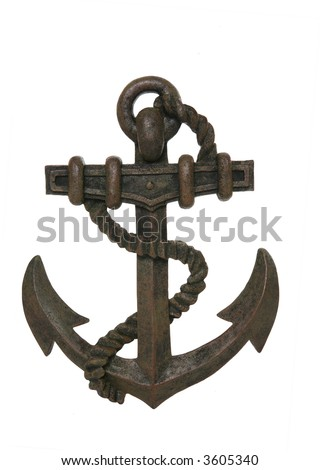 An old rusty anchor isolated over white background - stock photo