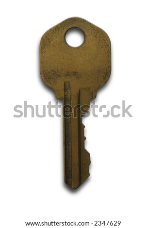 An old rusty key on a white background