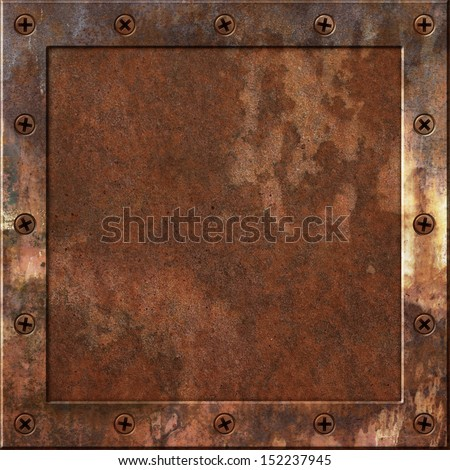 An Old Rusty Metal Background with a Border of Screws