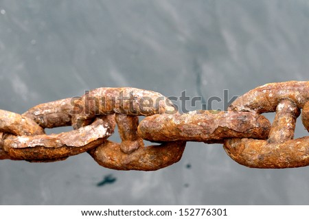 An Old Rusty Naval Chain, in Canary Islands, Spain - stock photo