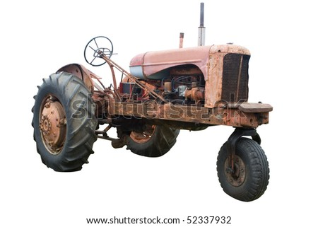 An Old Rusty Tractor Isolated on White - stock photo