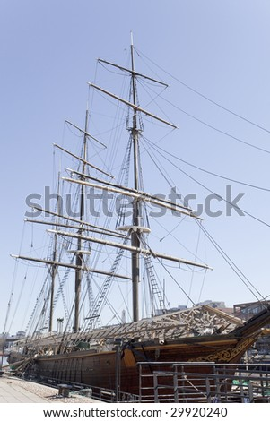 "An old sailing ship ""Estrella"" is under renovation."