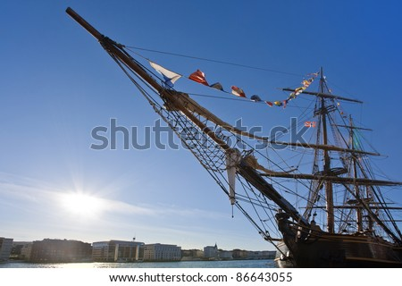 An old sailing ship in the harbour of Bergen, Norway