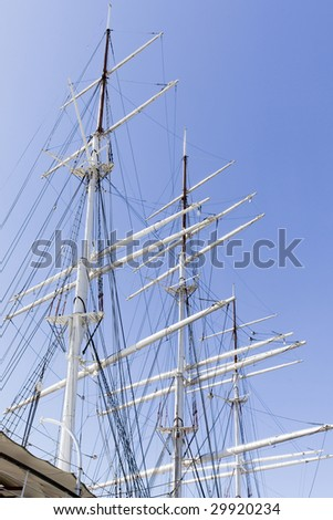 "An old sailing ship ""Suomen Joutsen"" (Finnish Swan) has changed into a museum ship. - stock photo"