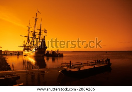 an old ship early in the morning