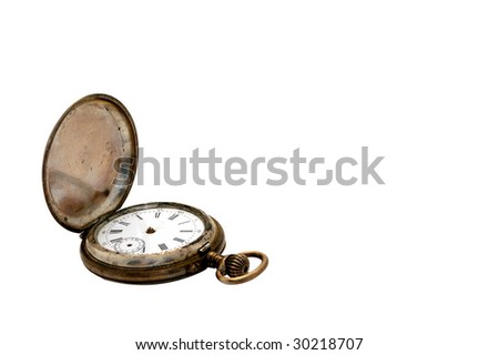An old silver watch isolated on white background - stock photo