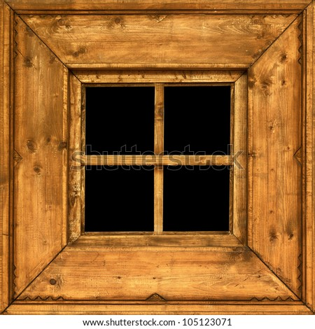An old square wooden rural window frame - stock photo