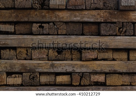 An old stack of wood