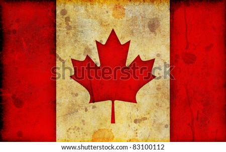 An old, stained and scratched Canadian flag in a grunge illustration style and in a widescreen aspect ratio. - stock photo