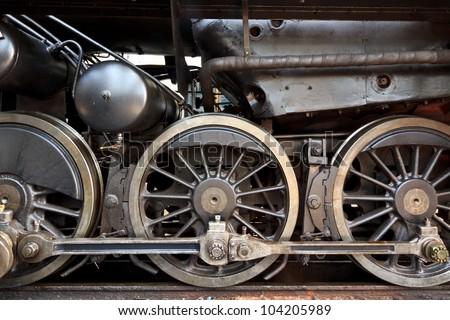 An old steam locomotive in a garage in Austria - stock photo