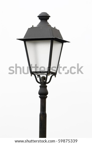 An old street lamp isolated on a white background - stock photo