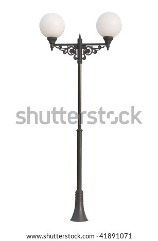 An old street lamppost isolated over white - stock photo