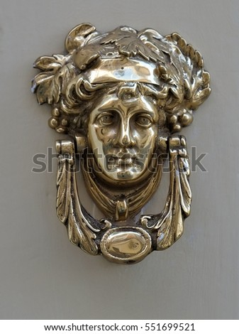 An Old Style Decorative Bronze Door Handles In The Form Of A Beautiful  Womanu0027s Head,