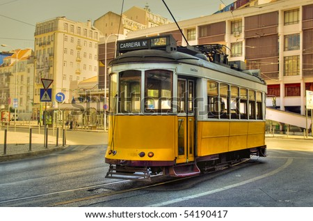 An old style trolley car at the end of the line in Lisbon, Portugal