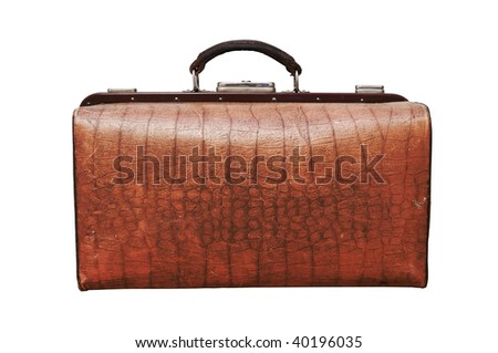 an old suitcase is on white background