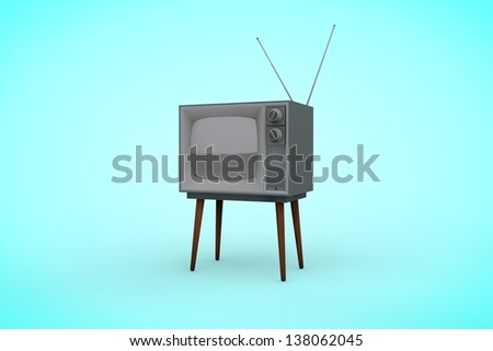 An old television on a blue background. - stock photo