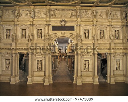 An old theater stage in Italy, - stock photo