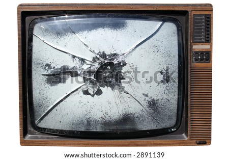 An old trashed TV with a smashed screen, isolated on a white background. - stock photo