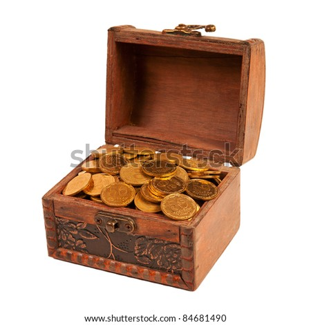 an old trunk with shiny coins isolated on white background