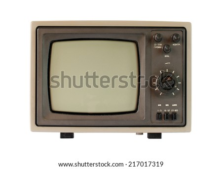 An old tv with black and white screen isolated on white background.