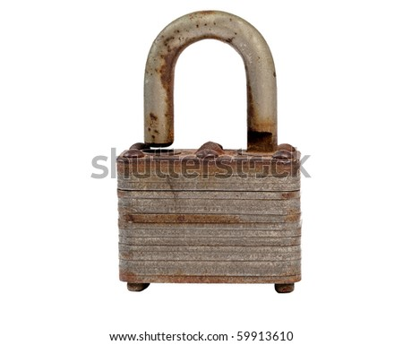 An Old, Used, Rusty Padlock. Macro, Isolated on a White Background.