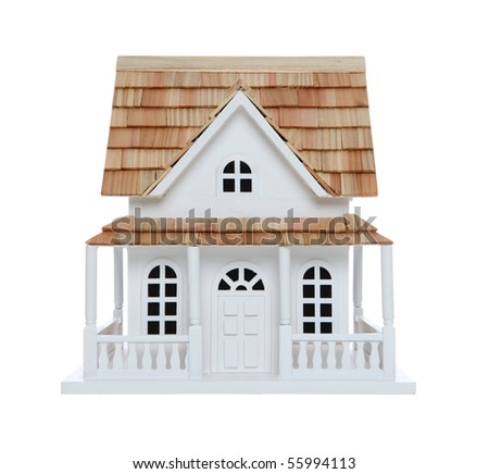 An old victorian house model isolated over white - stock photo