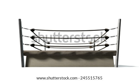 An old vintage boxing ring surrounded by ropes on an isolated white background