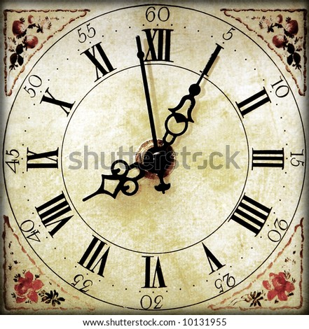 An old vintage clock face - stock photo