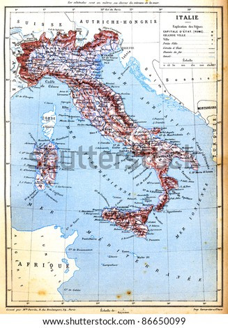 An old vintage map of Italy with explanation of signs on map from the late 1800s,  Trousset encyclopedia (1886 - 1891). - stock photo