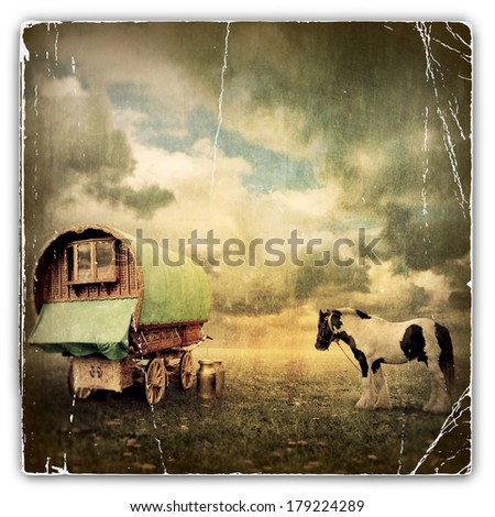 An Old Vintage Photograph of an Old Gypsy Caravan, Trailer, Wagon with a Horse - stock photo