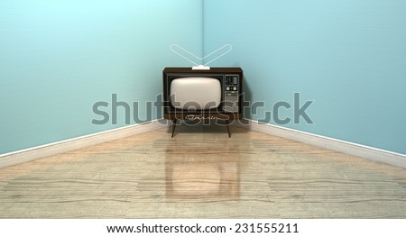 An old vintage television set in the corner of an empty room with light blue wall and a reflective wooden floor - stock photo