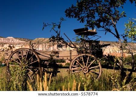 An old wagon at Ghost Ranch, NM near Abiquiu where Georgia O'Keeffe painted. - stock photo