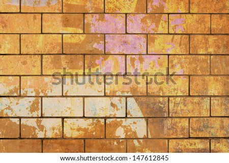 An Old Weathered Brick Wall - stock photo