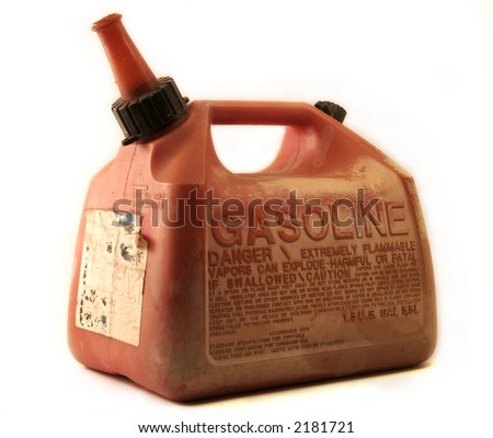 An old weathered gasoline container isolated on a white background.