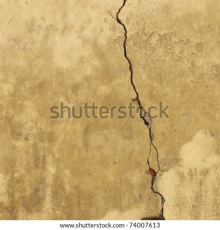 An Old Weathered Wall with Crack - stock photo