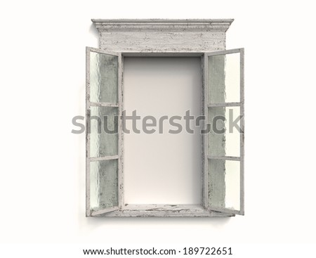 An Old Weathered Window Against a White Background - stock photo