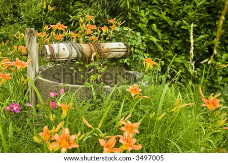 An old well from a deserted farm... - stock photo