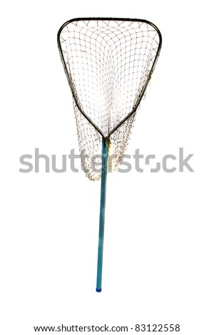 an old well used fish net. isolated on white with room for your text