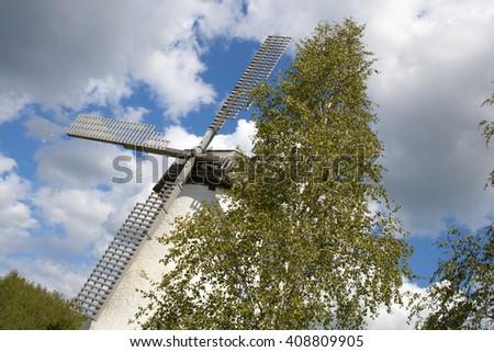 An old windmill in Estonia - stock photo