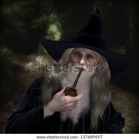 old wizard character dressed velvet blue stock illustration