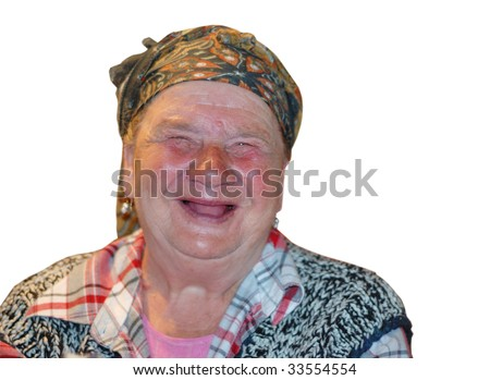 An old woman with red funny laughing face - stock photo