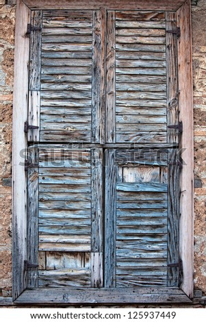 An old wood shutter window in Turkey - stock photo