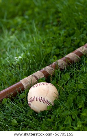 An old wooden baseball bat and ball laying in the green grass with copyspace.  Shallow depth of field.
