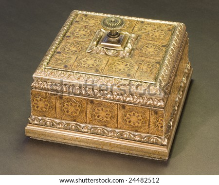 an old wooden box closed - stock photo
