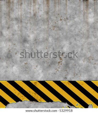 an old yellow and black hazard striped sign on a grungy concrete wall