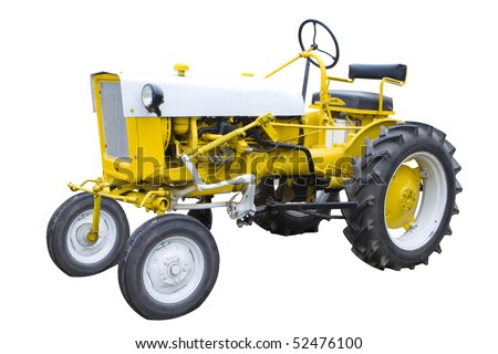 An Old Yellow Tractor Isolated on White - stock photo