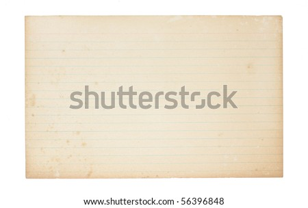 An old, yellowing, lined index card. Card is stained, spotted and worn in places. - stock photo