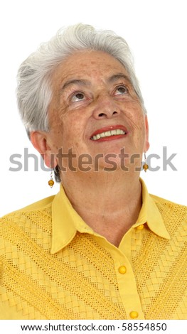 An older smiling woman thinking over white - stock photo